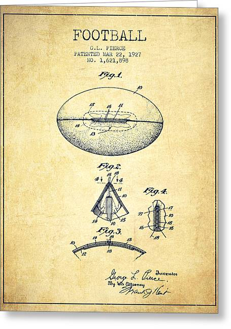 Player Drawings Greeting Cards - 1927 Football Patent - Vintage Greeting Card by Aged Pixel