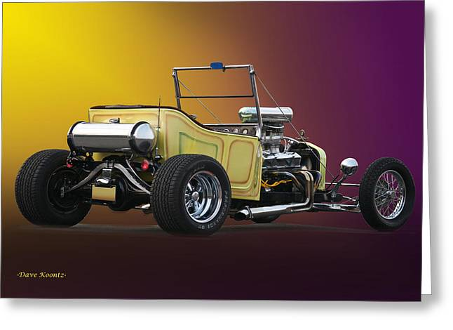 Ford Model T Car Greeting Cards - 1927 Ford Bucket T Roadster Pickup Greeting Card by Dave Koontz