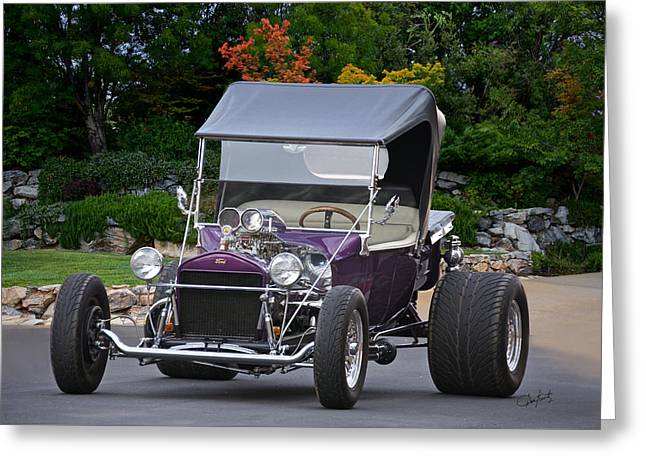 Ford Model T Car Greeting Cards - 1927 Ford Purple T Roadster Greeting Card by Dave Koontz