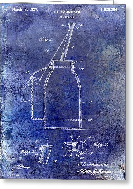 Service Station Greeting Cards - 1927 Oil Can Patent Blue Greeting Card by Jon Neidert