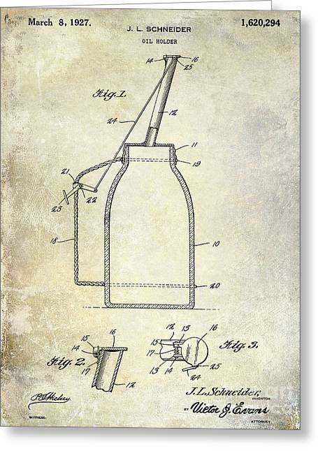 Service Station Greeting Cards - 1927 Oil Can Patent Greeting Card by Jon Neidert