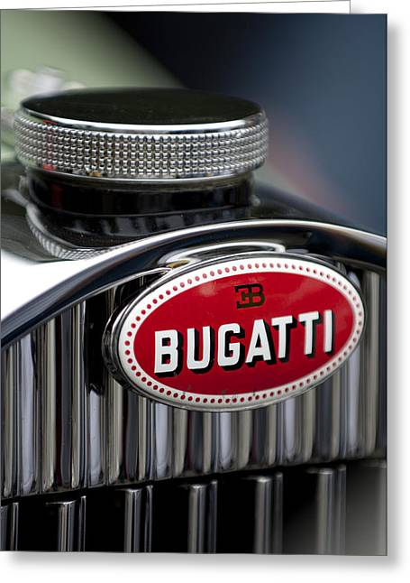 Recently Sold -  - Collector Hood Ornament Greeting Cards - 1928 Bugatti Hood Emblem Greeting Card by Jill Reger