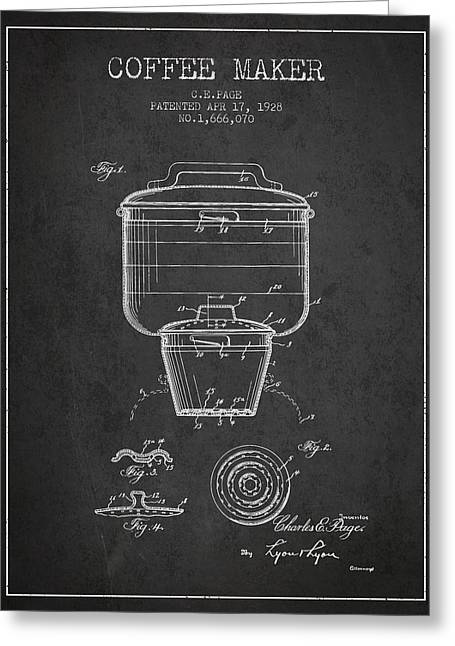 Pot Drawings Greeting Cards - 1928 Coffee maker patent - charcoal Greeting Card by Aged Pixel