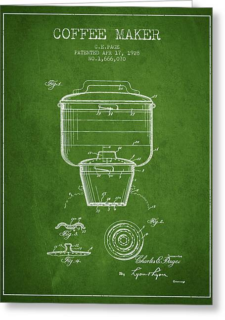 Drawing Of Lovers Greeting Cards - 1928 Coffee maker patent - green Greeting Card by Aged Pixel