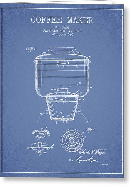 Pot Drawings Greeting Cards - 1928 Coffee maker patent - light blue Greeting Card by Aged Pixel