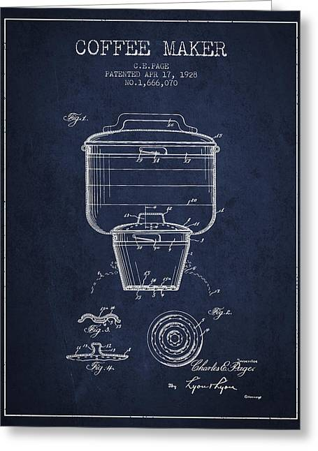 Pot Drawings Greeting Cards - 1928 Coffee maker patent - navy blue Greeting Card by Aged Pixel