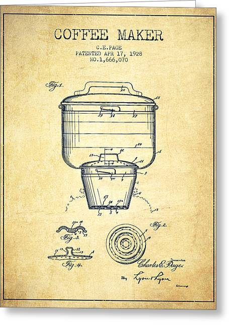 Pot Drawings Greeting Cards - 1928 Coffee maker patent - vintage Greeting Card by Aged Pixel