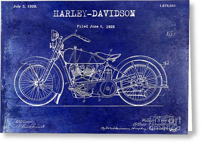 Hogs Greeting Cards - 1928 Harley Davidson Patent Drawing Blue Greeting Card by Jon Neidert