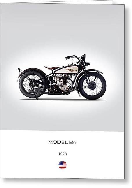 1928 Harley Model Ba Greeting Card by Mark Rogan