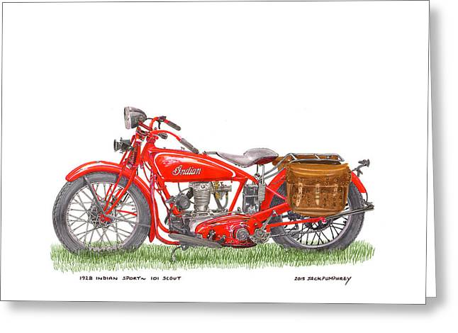Replacing Drawings Greeting Cards - 1928 Indian Sport 101 Scout Greeting Card by Jack Pumphrey