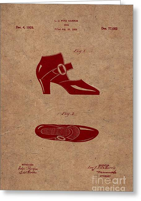 1928 Mary Jane Shoes Patent 2 Greeting Card by Nishanth Gopinathan