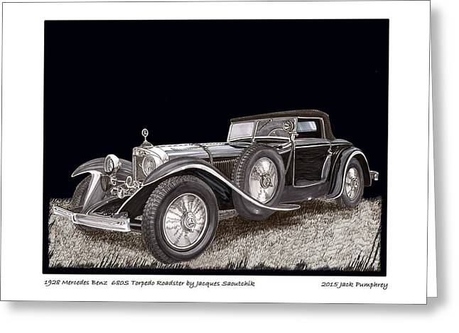 Pen And Ink Framed Prints Greeting Cards - 1928 Mercedes Benz 680 S Greeting Card by Jack Pumphrey