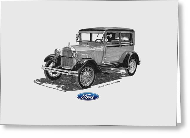 Pen And Ink Framed Prints Greeting Cards - 1928 Model A Ford 2 dr Sedan Greeting Card by Jack Pumphrey