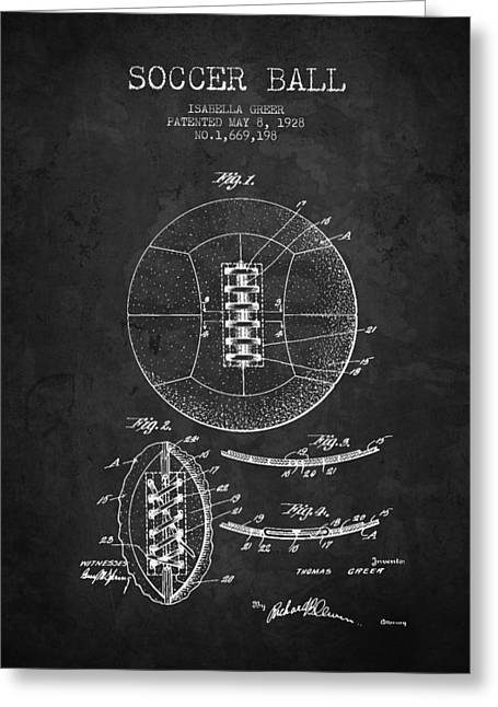 Soccer Drawings Greeting Cards - 1928 Soccer Ball Patent - Charcoal - NB Greeting Card by Aged Pixel