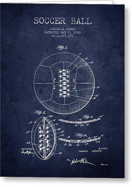 Soccer Drawings Greeting Cards - 1928 Soccer Ball Patent - Navy Blue - NB Greeting Card by Aged Pixel