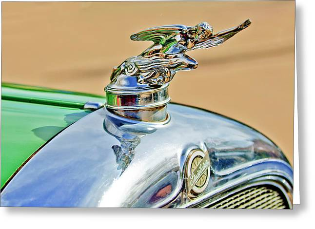1928 Studebaker Hood Ornament Greeting Card by Jill Reger