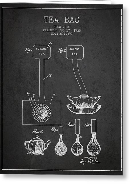Tea House Greeting Cards - 1928 Tea Bag patent 02 - charcoal Greeting Card by Aged Pixel
