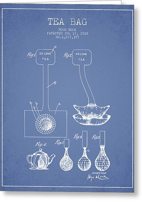 Tea House Greeting Cards - 1928 Tea Bag patent 02 - light blue Greeting Card by Aged Pixel