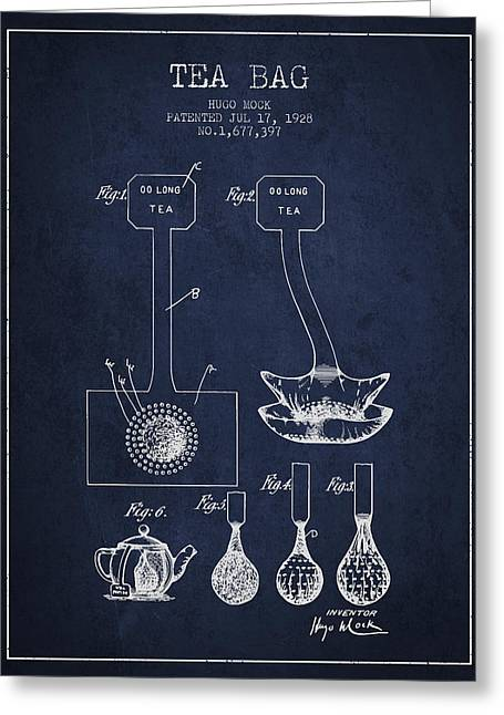 Tea House Greeting Cards - 1928 Tea Bag patent 02 - navy blue Greeting Card by Aged Pixel