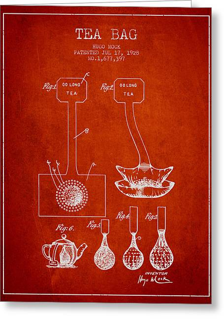 Tea House Greeting Cards - 1928 Tea Bag patent 02 - red Greeting Card by Aged Pixel