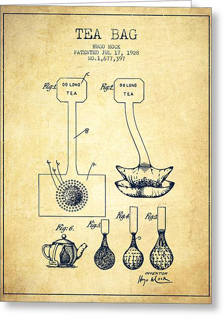 Tea House Greeting Cards - 1928 Tea Bag patent 02 - vintage Greeting Card by Aged Pixel