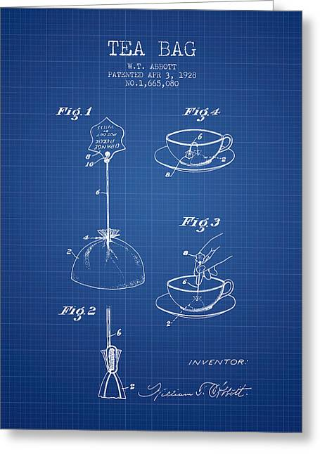 Tea House Greeting Cards - 1928 Tea Bag patent - blueprint Greeting Card by Aged Pixel