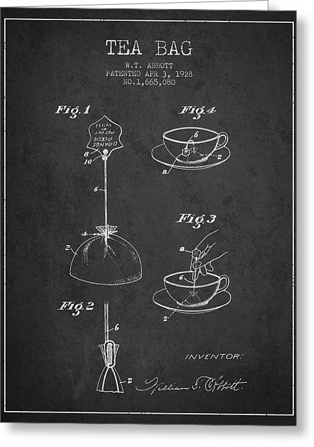 Tea House Greeting Cards - 1928 Tea Bag patent - charcoal Greeting Card by Aged Pixel