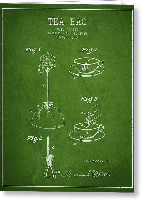 Tea House Greeting Cards - 1928 Tea Bag patent - Green Greeting Card by Aged Pixel