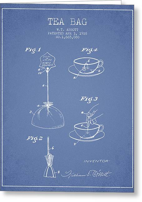 1928 Tea Bag Patent - Light Blue Greeting Card by Aged Pixel