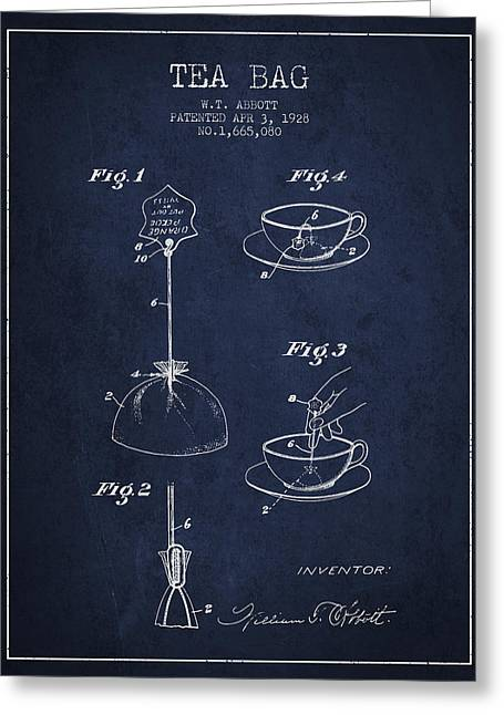 Tea House Greeting Cards - 1928 Tea Bag patent - Navy Blue Greeting Card by Aged Pixel