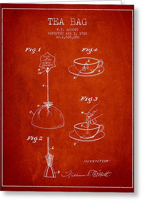Tea House Greeting Cards - 1928 Tea Bag patent - red Greeting Card by Aged Pixel