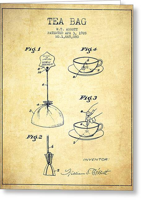Tea House Greeting Cards - 1928 Tea Bag patent - Vintage Greeting Card by Aged Pixel