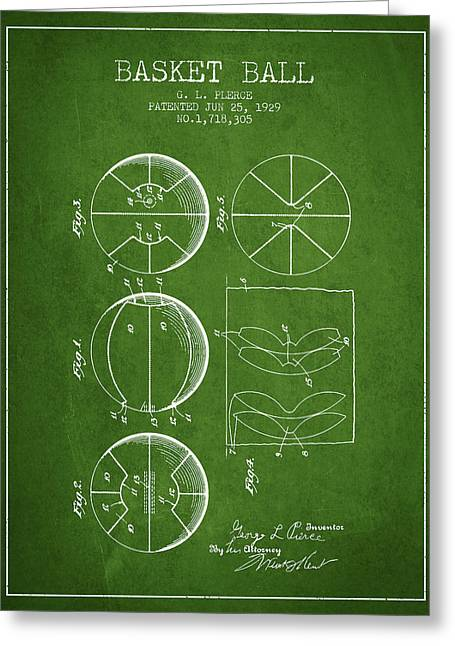1929 Basket Ball Patent - Green Greeting Card by Aged Pixel