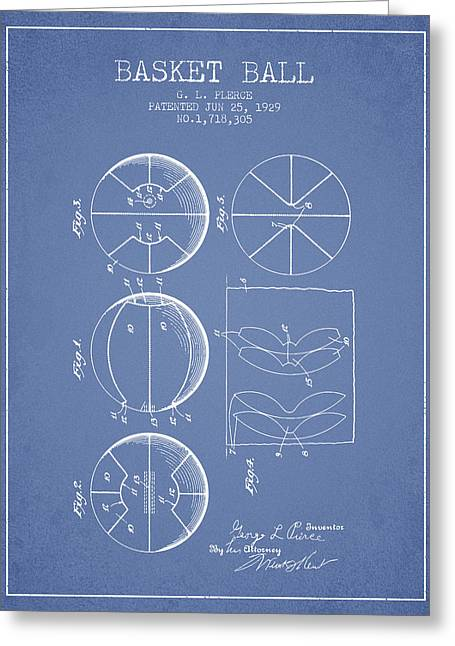 1929 Basket Ball Patent - Light Blue Greeting Card by Aged Pixel