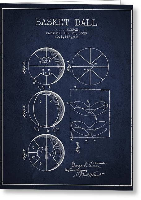 Basketballs Greeting Cards - 1929 Basket Ball Patent - Navy Blue Greeting Card by Aged Pixel