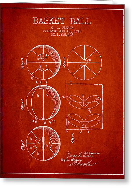 1929 Basket Ball Patent - Red Greeting Card by Aged Pixel