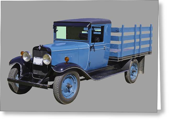 Chevrolet Pickup Truck Digital Greeting Cards - 1929 Blue chevy truck 1 ton stake Body Greeting Card by Keith Webber Jr
