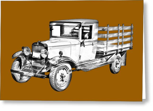 Chevrolet Pickup Truck Digital Greeting Cards - 1929 chevy truck 1 ton stake Body Drawing Greeting Card by Keith Webber Jr