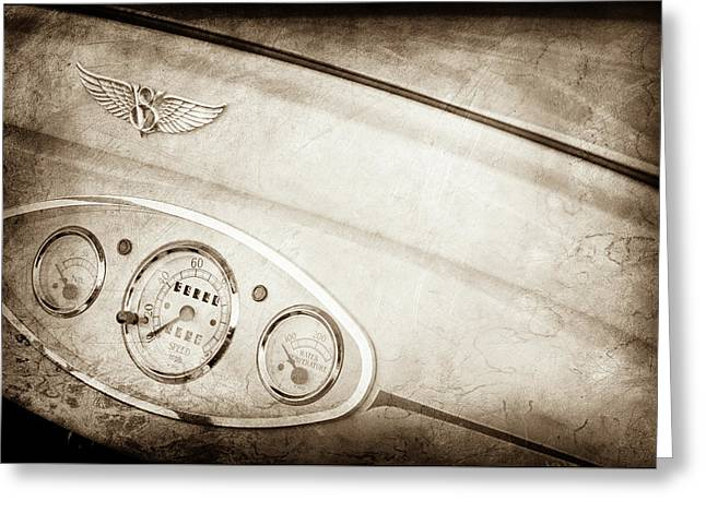 1929 Ford Model A Roadster Dashboard Emblem -0048s Greeting Card by Jill Reger