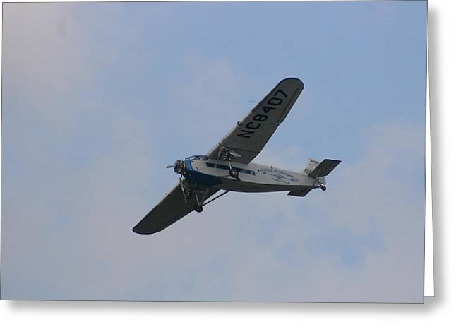 Ford Trimotor Greeting Cards - 1929 Ford Tri Motor Mail Plane Turning Greeting Card by David Dunham