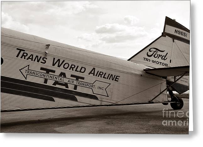Passenger Airplanes Greeting Cards - 1929 Ford Trimotor Greeting Card by David Lee Thompson