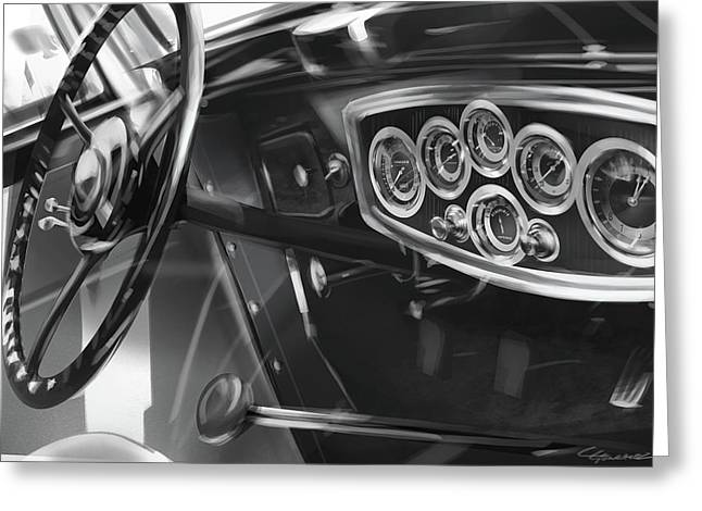 Automotive.digital Greeting Cards - 1929 Studebaker Interior Greeting Card by Uli Gonzalez