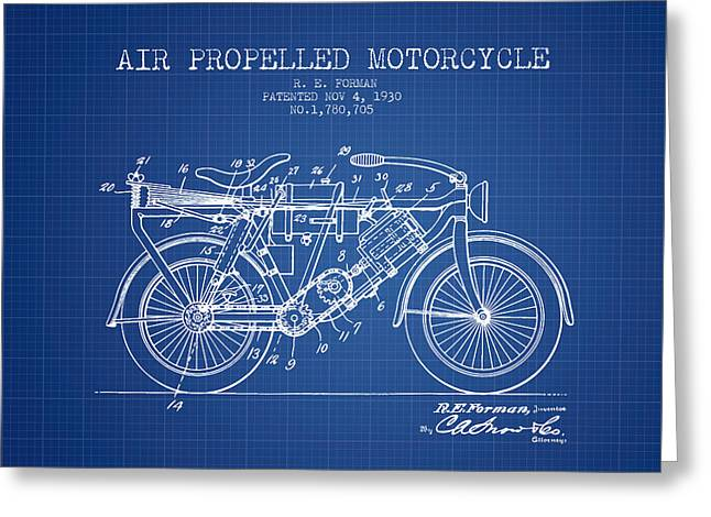 Bike Drawings Greeting Cards - 1930 Air Propelled Motorcycle Patent - Blueprint Greeting Card by Aged Pixel