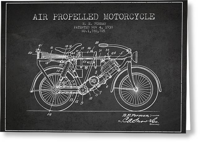Bike Drawings Greeting Cards - 1930 Air Propelled Motorcycle Patent - Charcoal Greeting Card by Aged Pixel