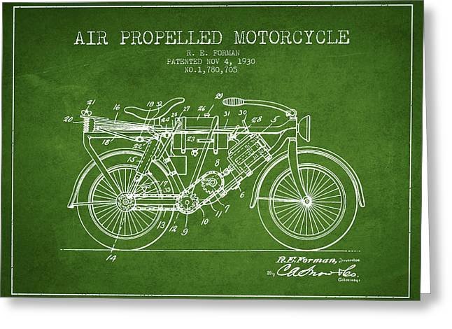 Bike Drawings Greeting Cards - 1930 Air Propelled Motorcycle Patent - Green Greeting Card by Aged Pixel