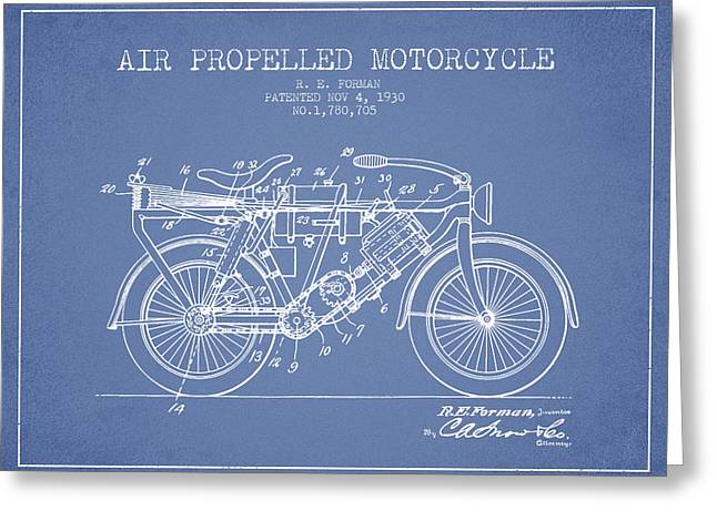 Bike Drawings Greeting Cards - 1930 Air Propelled Motorcycle Patent - Light Blue Greeting Card by Aged Pixel