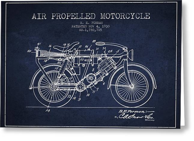 Bike Drawings Greeting Cards - 1930 Air Propelled Motorcycle Patent - Navy Blue Greeting Card by Aged Pixel