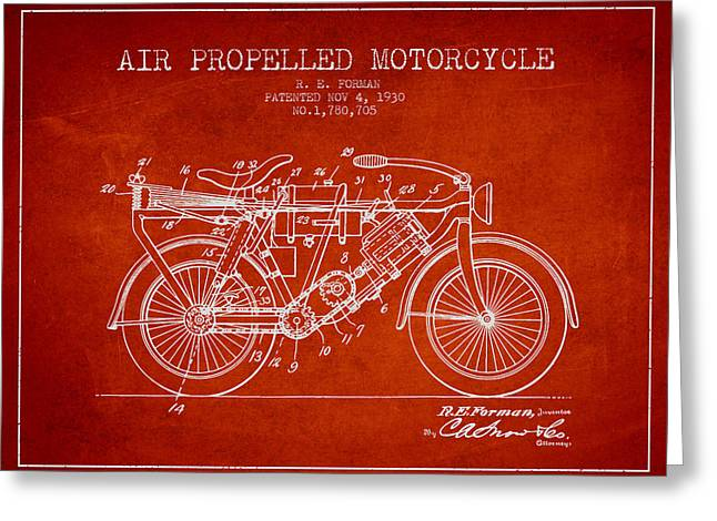 Bike Drawings Greeting Cards - 1930 Air Propelled Motorcycle Patent - Red Greeting Card by Aged Pixel