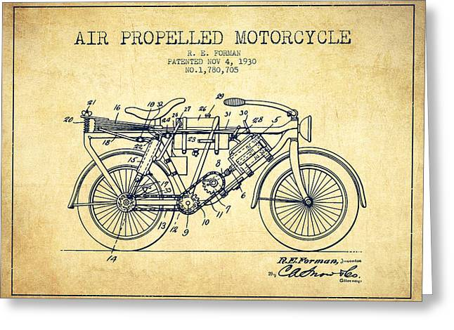 Bike Drawings Greeting Cards - 1930 Air Propelled Motorcycle Patent - Vintage Greeting Card by Aged Pixel