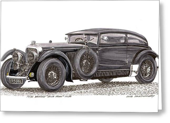 Amazing Drawings Greeting Cards - 1930 Bentley Blue Train Coupe Greeting Card by Jack Pumphrey